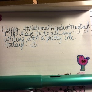 "A picture of a Lamy fountain pen with the text ""Happy National Handwriting Day!"""