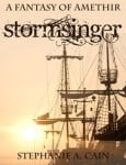 Book cover of STORMSINGER with a sailing ship's rigging and sunset