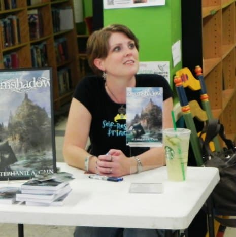 Stephanie A. Cain signing books at Robots and Rogues Bookstore