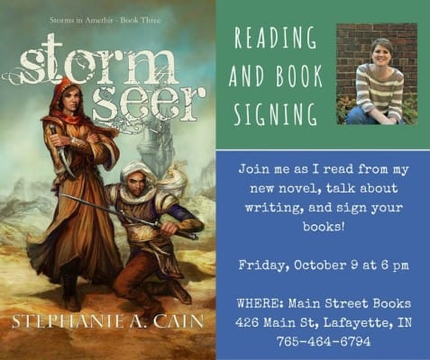 Stephanie A. Cain epic fantasy reading October 9 at Main Street Books in Lafayette, Indiana