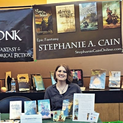 Fantasy author Stephanie A. Cain at her booth at the 2015 Allen County Public Library Author Fair