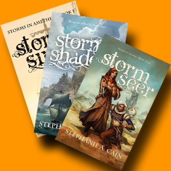 Covers of the Storms in Amethir trilogy by Stephanie A. Cain