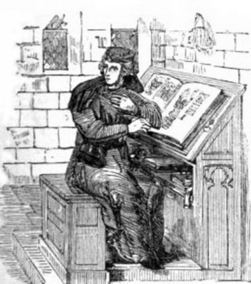 Medieval copyist at Work from the Wikimedia Commons