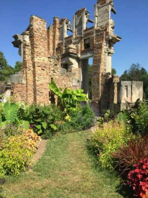 Landscape plants behind The Ruins at Holliday Park, Indianapolis, Indiana