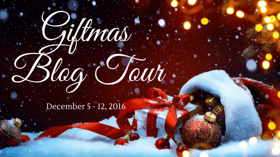 Giftmas Blog Tour graphic with snow, presents, and Christmas ornaments
