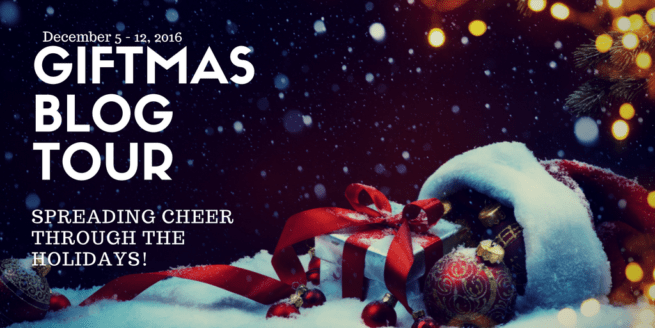 Giftmas Blog Tour graphic with snow and presents