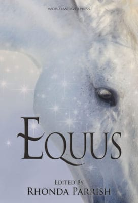 The cover of EQUUS: A white horse with magical sparkles over its face
