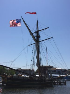 The tall ship Friends Good Will, a replica of an 1811 single-masted merchant sloop